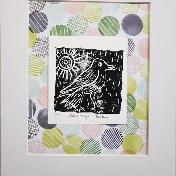 """Original Linoleum block printing  / """"Blackbird Singin"""" wall art/home decor bird art/ matted to 11x14 Modern Art  by Pam Blohm"""