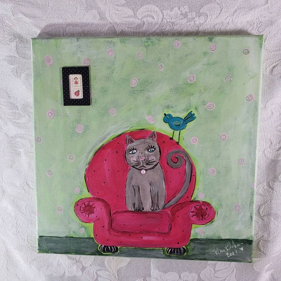 "Original Acrylic Painting  ""Maxine the Cat "" 12x12 canvas wall art/Cat in Chair art/bedroom art/bathroom art/ Home Decor/Cat lover gift"