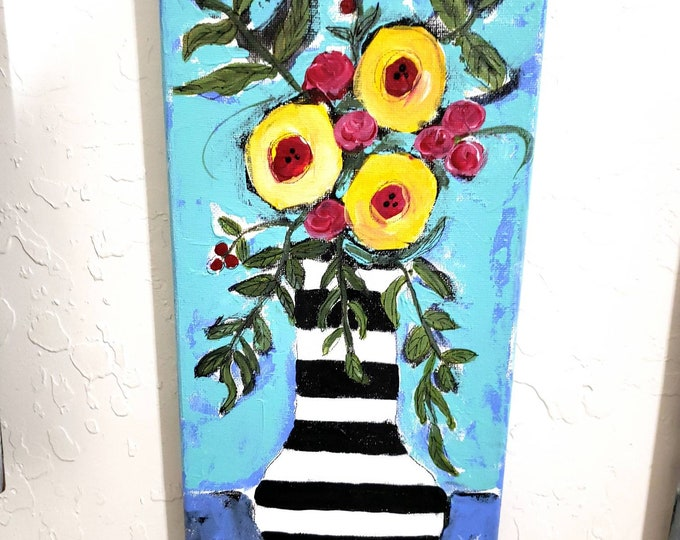 """Original acrylic  painting """"It's a Carnival """" -  Wall art - 7x14 Striped Vase Flower Painting - Whimsical Flower art"""