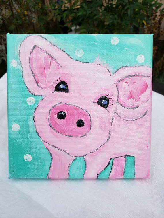 "Original ""Petunia Piggy "" Acrylic Painting/ 6x6 Features animal fun / Whimsical Pink Pink Art"