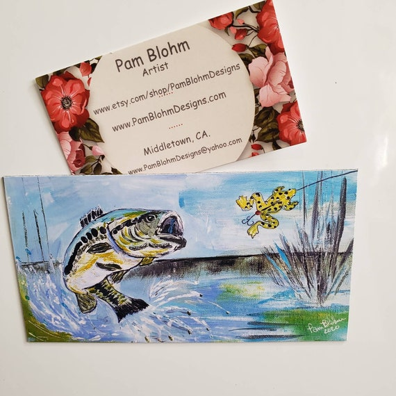"Art MAGNET ""Large Mouth Bass"" / Fisherman gift idea /man or boy stocking stuffer /strong hold magnet made in USA / Fishing small art"