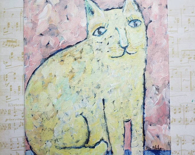 """Abstract Cat Art Original """"If Van Gogh Painted Cats"""" -8x10 Acrylic Painting- Impressionist Wall  Art - Abstract Home Decor"""
