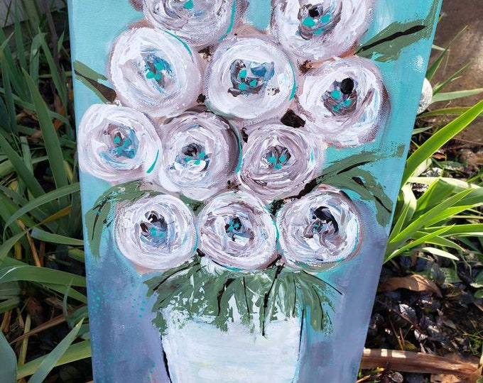 Original Acrylic Painting - 10x20 Vase of Abstract Flowers -Bedroom art -Wall Art -Home Decor