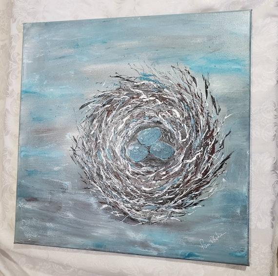 "Original acrylic painting/20x20  "" Nesting Hearts"" / 3 Eggs in a Nest wall art/Large Wall art/ Home Decor/Nursery Room Artwork"