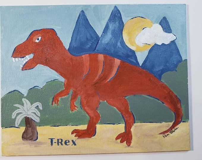 T-rex Dinosaur original acrylic painting -8x10 canvas Panel-kids room art - Boho Color Pallette
