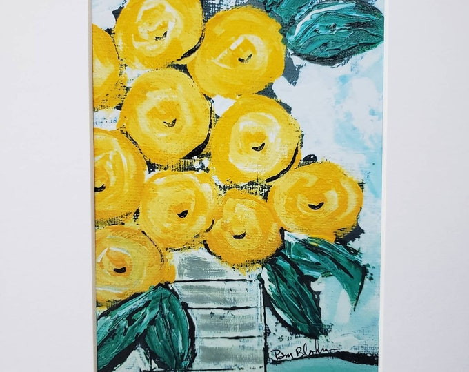 """Vase of """"Yellow Flowers"""" artist PRINT from original painting- white matted to 8x10 frame size"""