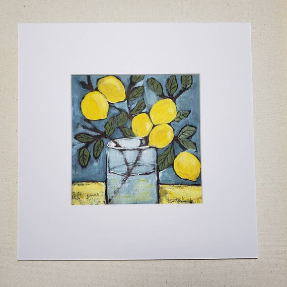 "Artist PRINT ""6 Lemons"" from Pam Blohm original painting / 10x10 Lemon Branch art/kitchen decor"