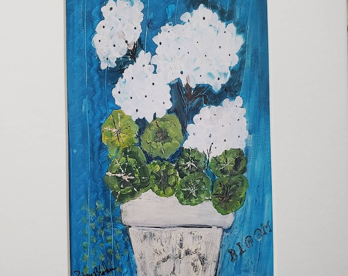 """Pot of  """"White Geraniums""""  flowers Artist PRINT- white matted to 8x10 frame size"""