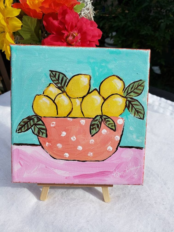 "Original ""Tropical Lemons "" Acrylic Painting/6x6  Kitchen Decor"