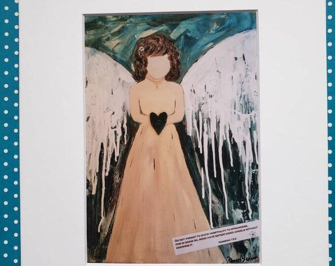 "Angel Fine Art Print "" Scripture Angel"" - print of Pam Blohm  painting - 5x7 Print matted to 8x10-Angel  artwork- Bible Verse art"