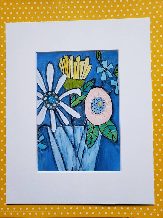 """Artist PRINT """"Whimsical Floral """" / matted print of original painting / 5x7 Print matted to 8x10/ Flower artwork/ Wall art/ Home Decor"""