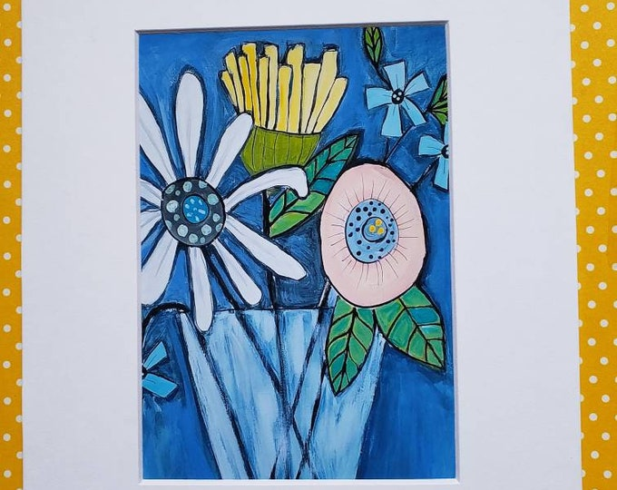 """Fine Art  PRINT """"Whimsical Floral """" - matted print of Pam Blohm painting - 5x7 Print matted to 8x10- Flower Print"""