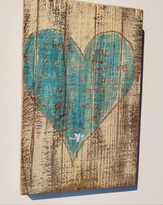 """Rustic """"I love You Forever """" Decor /One and of a kind hand made Redwood  sign / Etched  acrylic painting 5.25x8"""""""