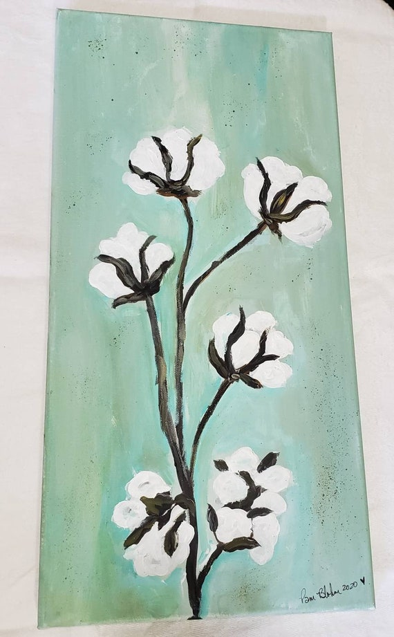 "Original Acrylic Painting ""Summer Cotton"" Wall Art. 10x20"" Farmhouse Decor"