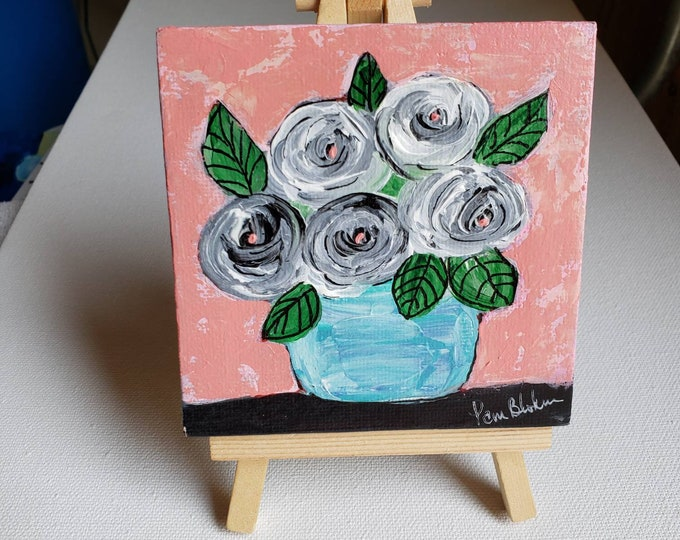 Teal Vase Flower Bouquet -4x4 original acrylic painting-  Small Art Canvas includes display easel