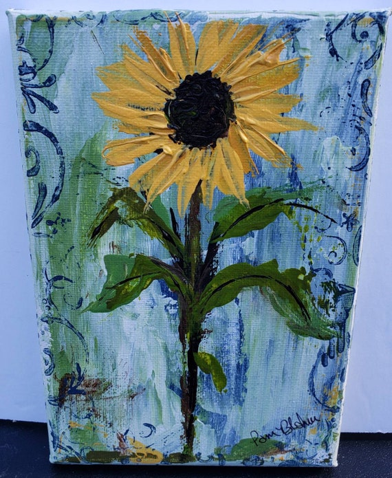 "Flower art ""Yellow Sunflower"" original acrylic painting/5x7 wrapped canvas wall art/"