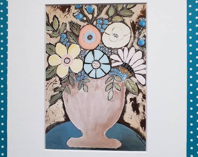 "Fine Art PRINT "" Vintage Florals "" - 8x10 matted print of original painting - Pam Blohm  Flower artwork"