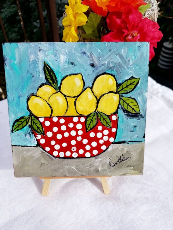 "Original ""Polka Dots & Lemons"" Acrylic Painting on Birchwood canvas/ kitchen decor  / Wall Decor"
