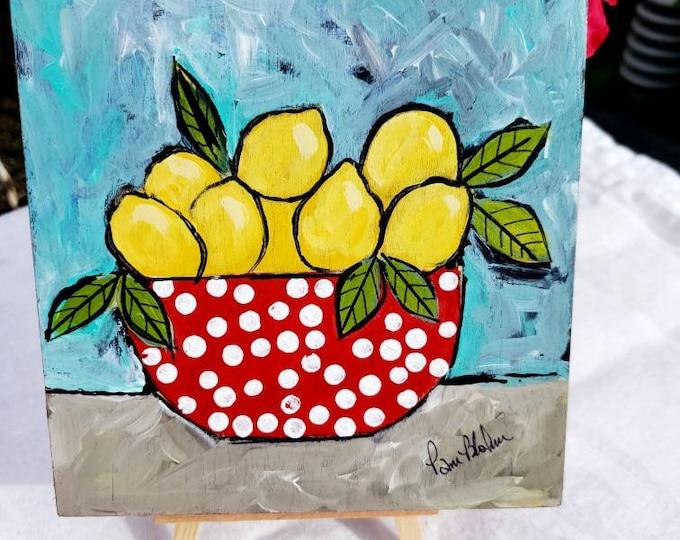 "Original Art  ""Polka Dots & Lemons"" - Acrylic Painting - 6x6 Birchwood canvas - kitchen decor- Wall Decor"