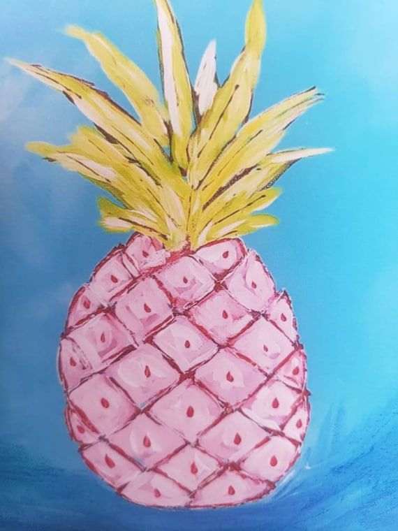 Artist Print -Pink Pinapple from original painting by Pam Blohm/white matted to 8x8