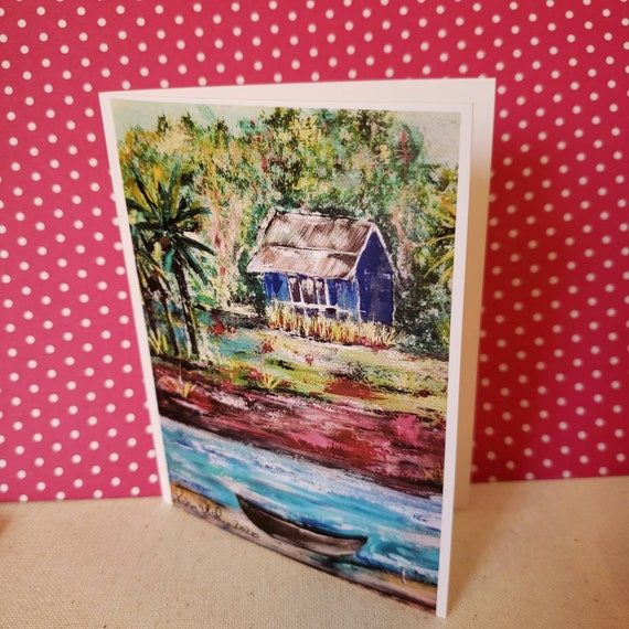 Blank note card set of 5 cards / Blue Hut art by Pam Blohm / 4.25 x5.5  small art greeting /printed in USA-*Price Includes Shipping