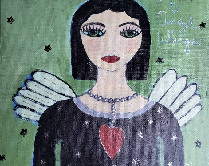 "8x10 Angel Art Original painting ""Listen for the Sound of Angel Wings"" -Acrylic Angel Painting on canvas Panel-Folk art Angel art"