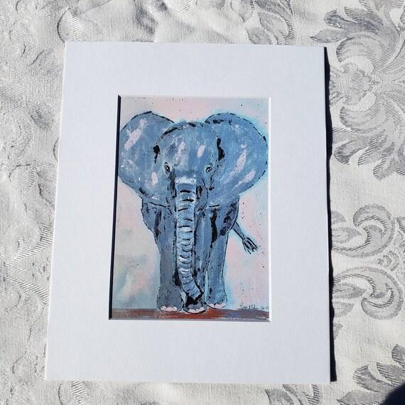 "Artist PRINT ""Dancing Elephant"" /8x10 Matted Animal art /Nursery Decor/ Zoo theme /wall art"