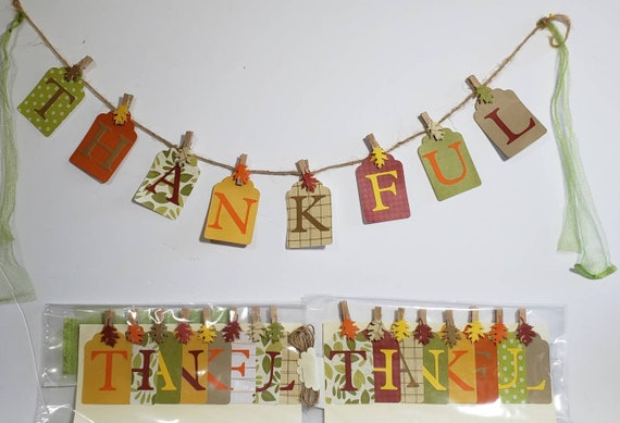 "Handmade ""Thankful"" paper banner/ Thanksgiving home or office decor"