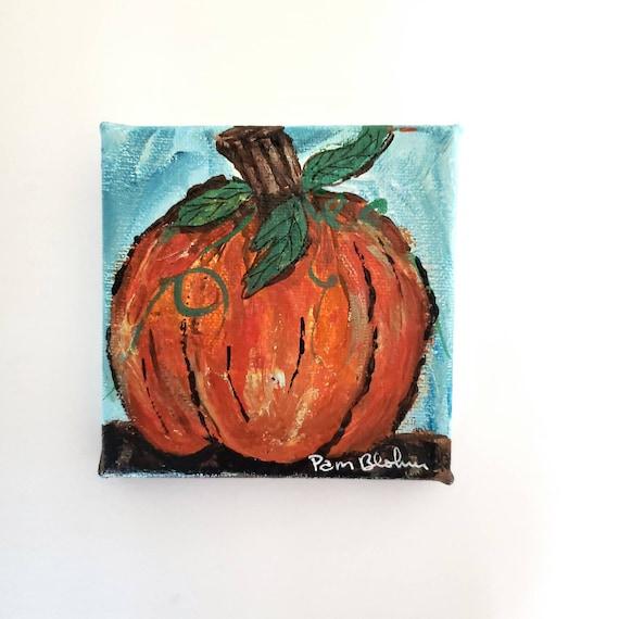"4x4 small art original acrylic painting "" Fall Pumpkin "" / Holiday decor"