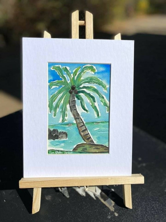 "Tropical Palm Tree art ""Hawaii Memories"" /  Original Watercolor & Ink  painting/Tropical wall art  / 8x10 Matted painting."