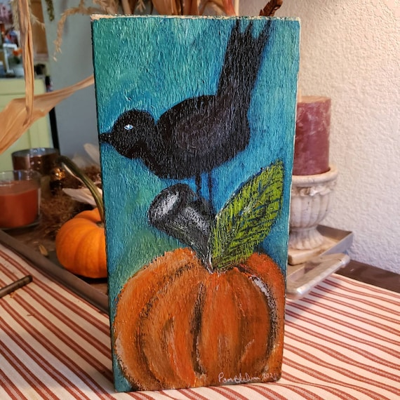 "Rustic original acrylic painting ""Fall Crow"" . 5.5x 11.5 art on pine wood / PumpkinHome Decor/Thanksgiving Fall Art/ includes shipping"