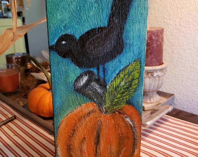"Rustic original acrylic painting ""Fall Crow"" . 5.5x 11.5 art on pine wood - PumpkinHome Decor-Thanksgiving Fall Art- includes shipping"