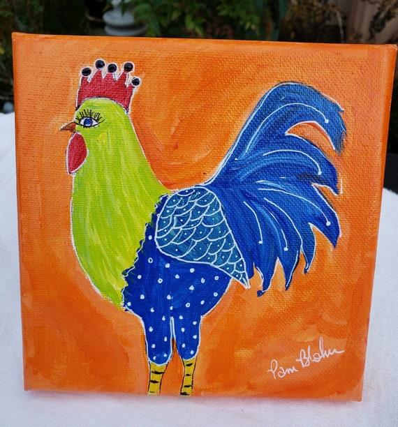 "Original ""Wacky Chicken"" Acrylic Painting / 6x6 whimsical bird art / fun farm animal"