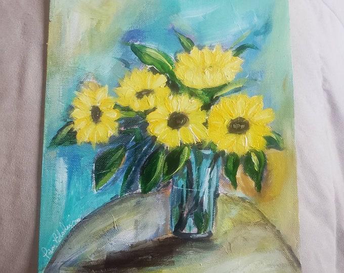 "Original ""Summer Sunflowers ""Acrylic Painting-8x10 canvas Panel wall art- Flower Still Life home decor"