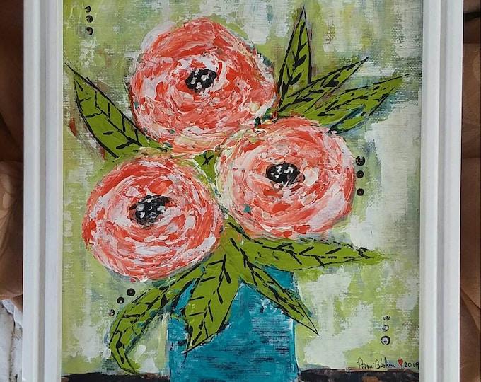 "FRAMED Original Floral Painting  ""Blaze""  Abstract Acrylic / home decor/home art/office art/9x12 Flower Art/Bedroom Art/Bathroom Art/Flowers"