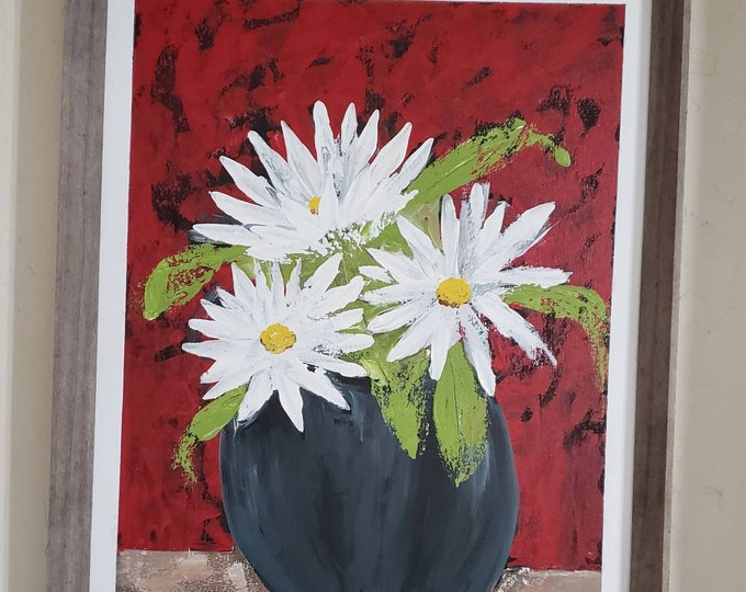 """FRAMED. Abstract """"White Daisies"""" original acrylic painting - 16x20 framed wall art- home or office decor-Flower painting - Floral artwork"""