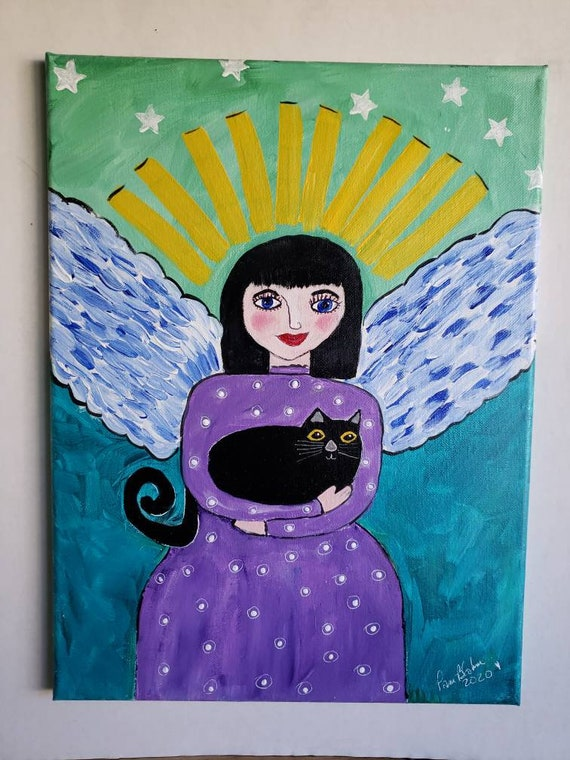 "Folk art "" Black Cat Angel"" / Original acrylic painting/ 12x16 Wall Art/ Angel Art/ Spiritual Art/ Mexicana"