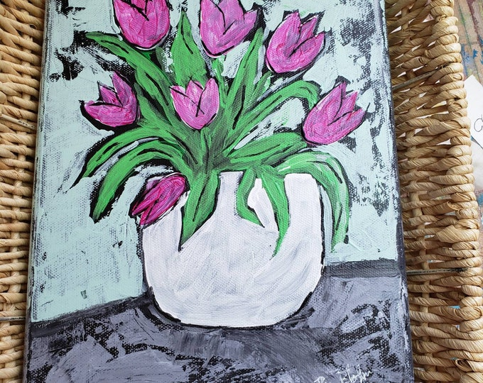 """Whimsical """"Pink Tulips """" original acrylic painting - 8x10 stretched canvas wall art / vase of flowers artwork"""