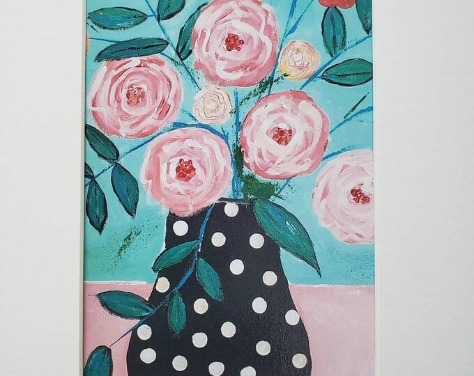 "Artist Print "" Polka Dot Vase "" flower art from original painting - White Matted to 8x10"