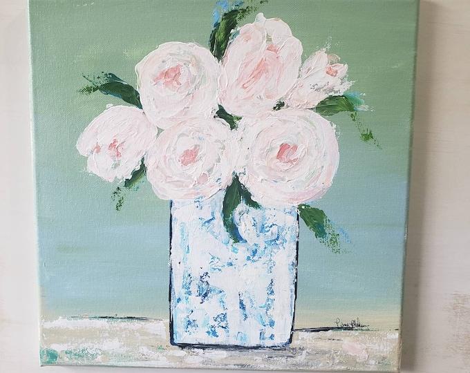 "Blush ""Pink Roses"" Bouquet - original 12x12 acrylic painting wall art-Home Decor Flower Artwork -Bedroom art-Bathroom art-Nursery Art"