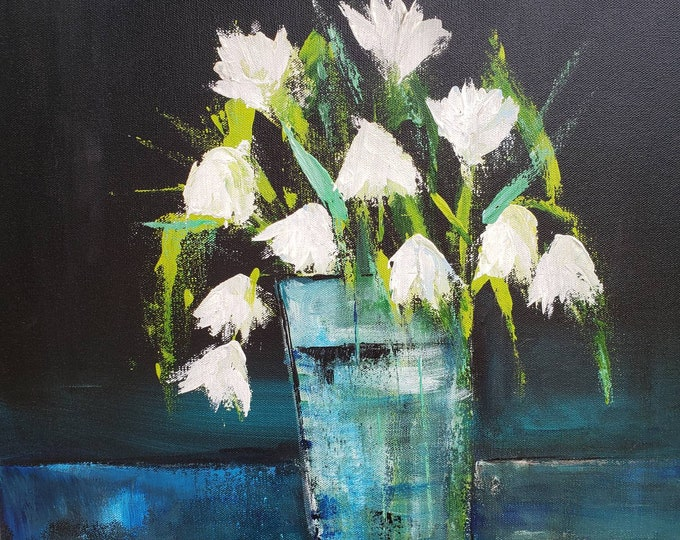 """Vase of Flowers Impressionist art -20x20  Original acrylic painting - """" Wisps of White """" Floral   Wall art -  LARGE ART home decor ."""