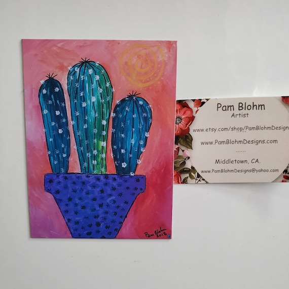 "Art MAGNET ""Southwest Cactus""  created from original  Painting /Kitchen Decor/gift idea /small art/ Made in the USA"