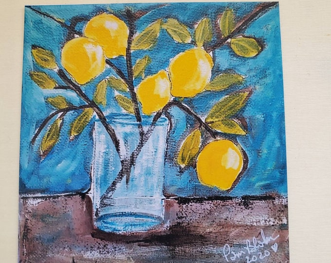 """ART MAGNET """" Lemon Branch"""" kitchen decor- magnet collector gift idea -office small art- made in USA"""