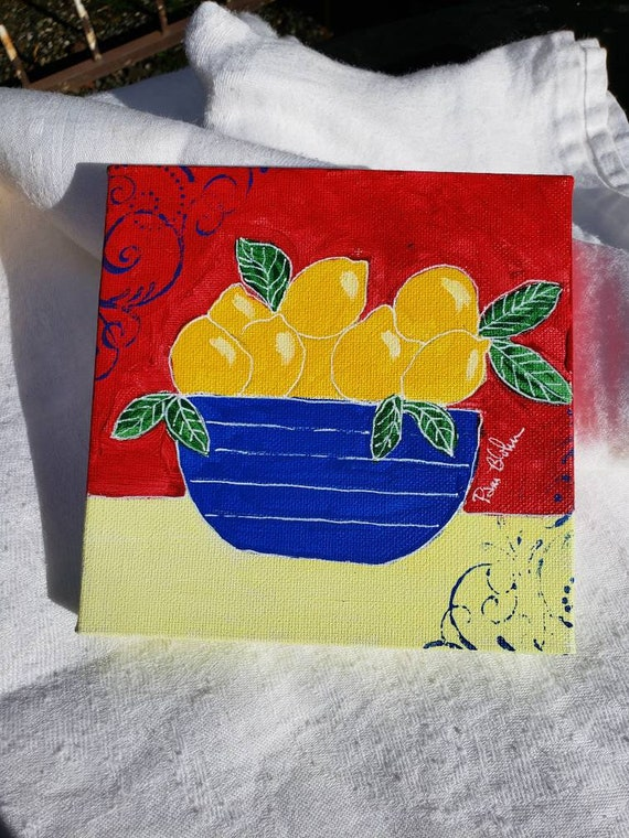 "Original ""Primary  Lemons"" Acrylic painting / 6x6 Kitchen Decor/ Blue Bowl  / Primary Colors"
