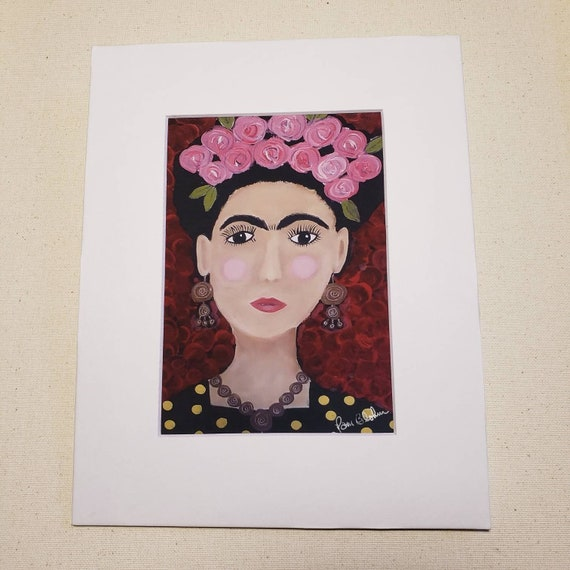 "Artist PRINT ""Tribute to Frida"" from original painting by artist Pam Blohm/ 8x10"" matted portrait art."