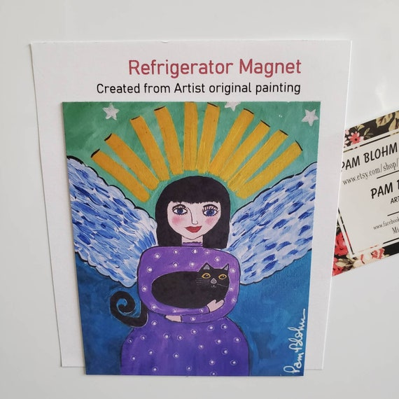 """Art MAGNET """"Angel with Cat"""" kitchen decor/ Angel small art gift idea/ Cat lover / made in USA"""