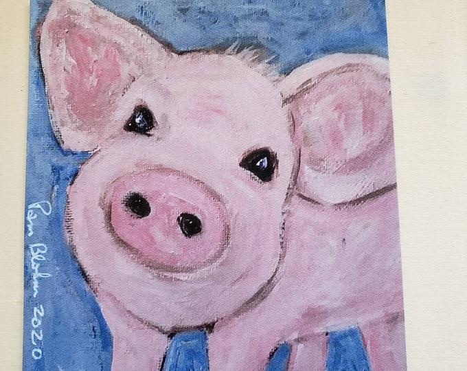 "Art MAGNET - ""Pink Piggy"" Farmhouse  Gift Idea - Made in the USA"
