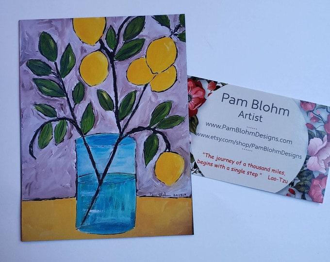 """Artist Magnet """" Single Lemon Branch """"  Kitchen Decor- Small Girlfriend gift - Lemon Tree Art"""