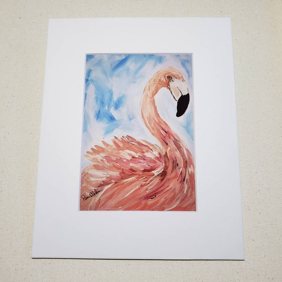 "Artist PRINT "" Flirting Flamingo"" from artist original artwork/8x10 Matted bird artwork /bathroom decor /zoo animal nursery decor"
