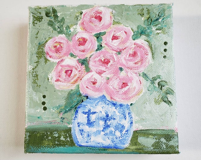 """Small art Original acrylic paintings """"""""Pink Roses Bouquet """"- 5x5 deep wrapped canvas - mantle, shelf, tier tray, self standing art"""